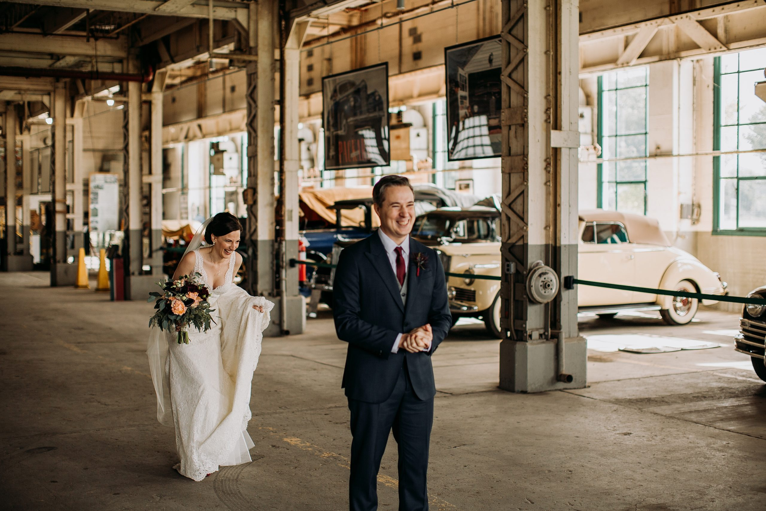 Bride and Groom's first look at the Packard Proving Grounds